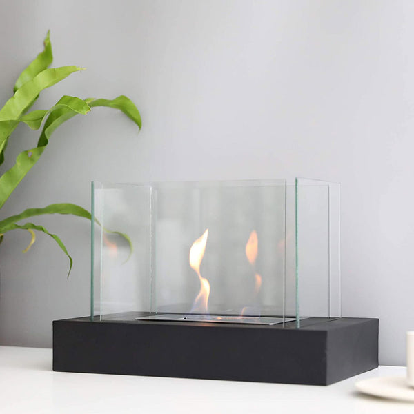 "Rectangular Tabletop Fire Bowl Pot with Four-sided Glass 13.5""L Portable Tabletop Fireplace–Clean-Burning Bio Ethanol Ventless Fireplace for Indoor Outdoor Patio Parties Events"