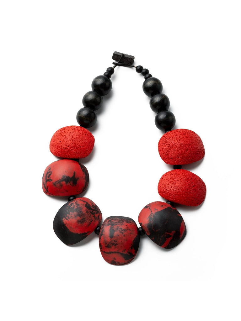 Gily Ilan Maya Necklace - Red And Black - Moxie Tel-Aviv