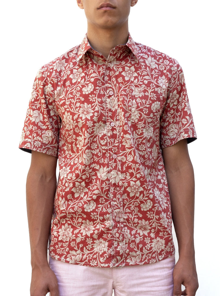 Haia Botany Short-Sleeve Shirt - Red - Moxie Tel-Aviv