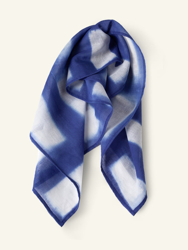 Haia Shibori Cotton Bandana - Blue/White - Moxie Tel-Aviv