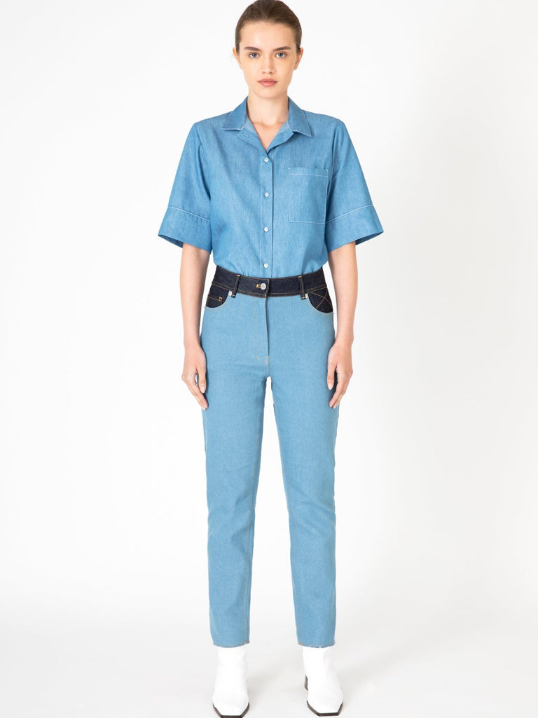 Hannah Cropped Light Blue Jeans - Moxie Tel-Aviv