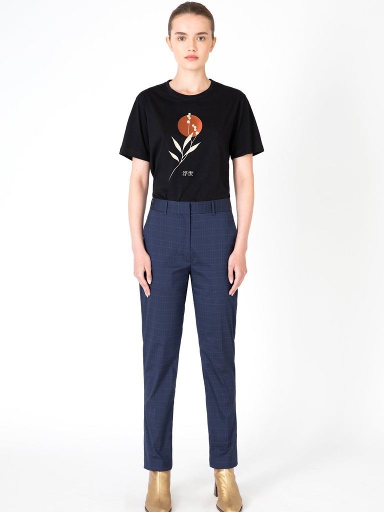 Hannah Oliver Blue Checkered Pants - Moxie Tel-Aviv