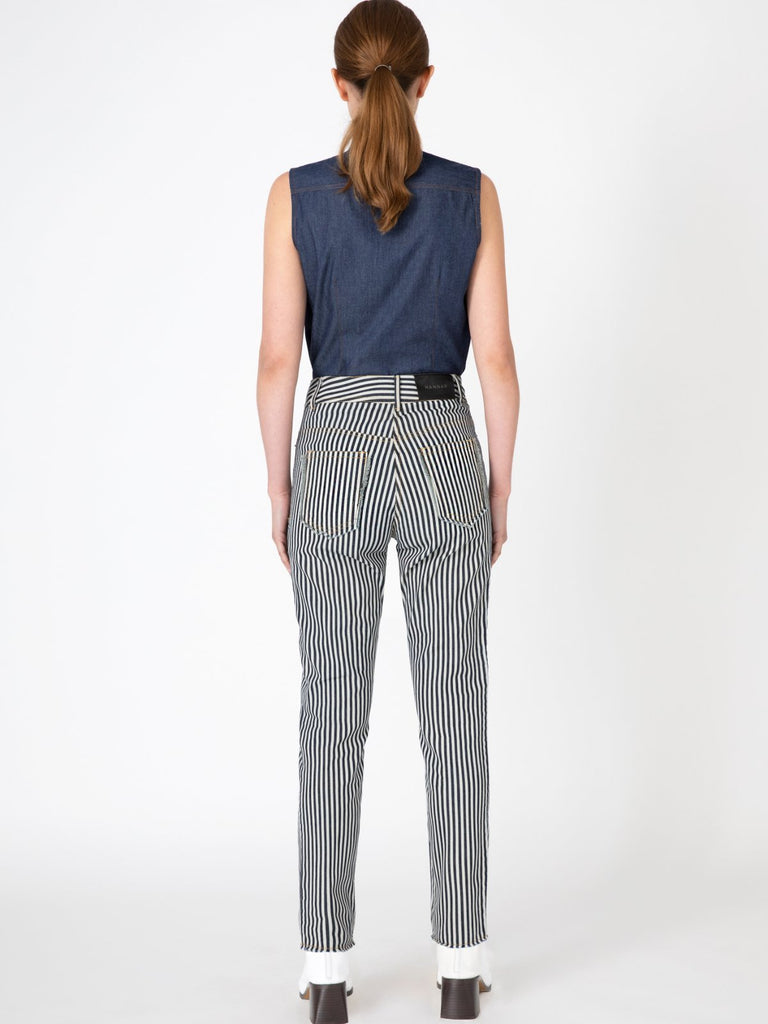 Hannah Straight-Leg Striped Jeans - Moxie Tel-Aviv