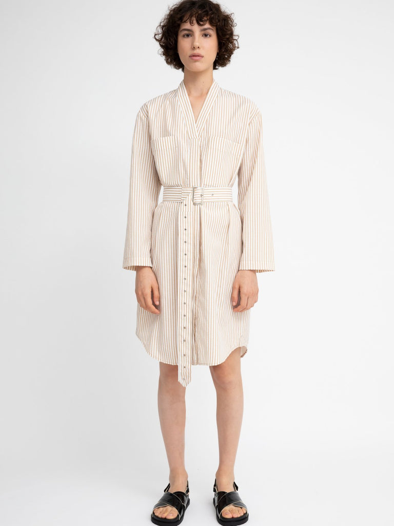 Hannah Striped Lucy Dress - Camel - Moxie Tel-Aviv