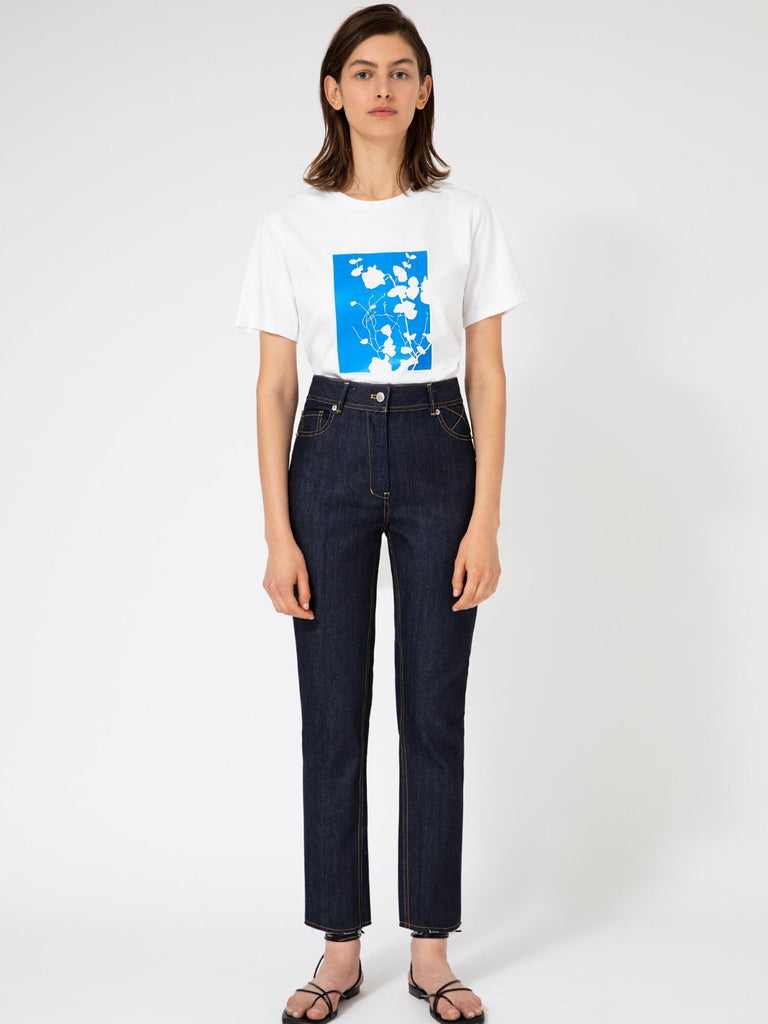 Hannah Wildflower White/Blue T-shirt - Moxie Tel-Aviv