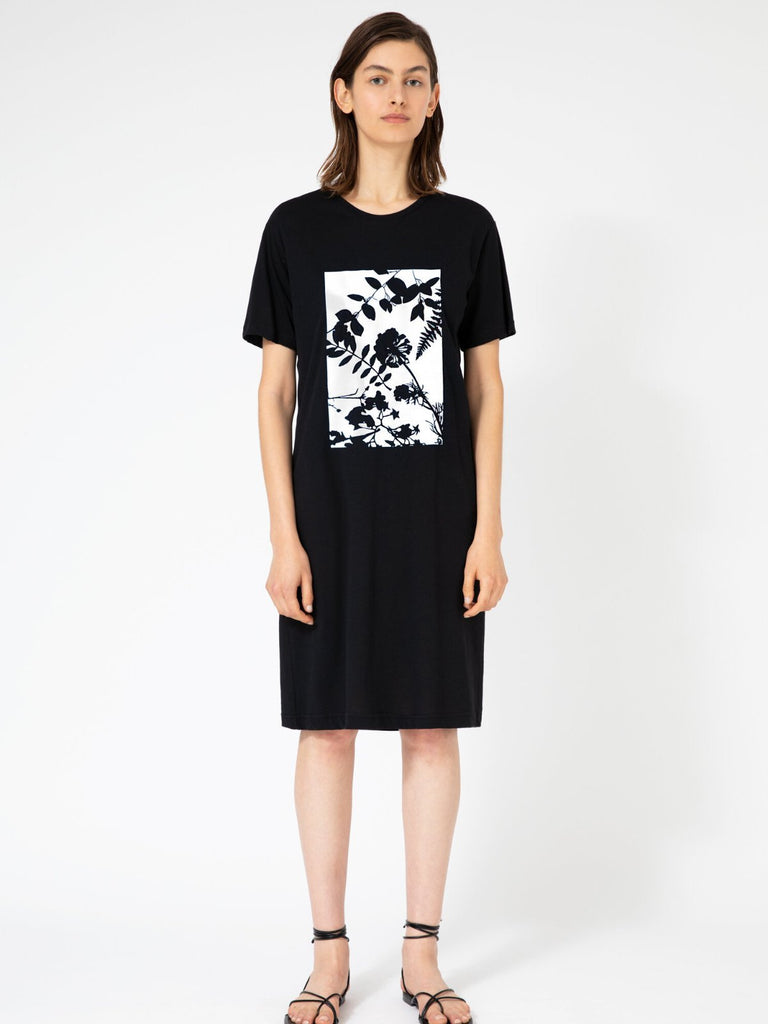 Hannah Wildflowers Black T-shirt Dress - Moxie Tel-Aviv