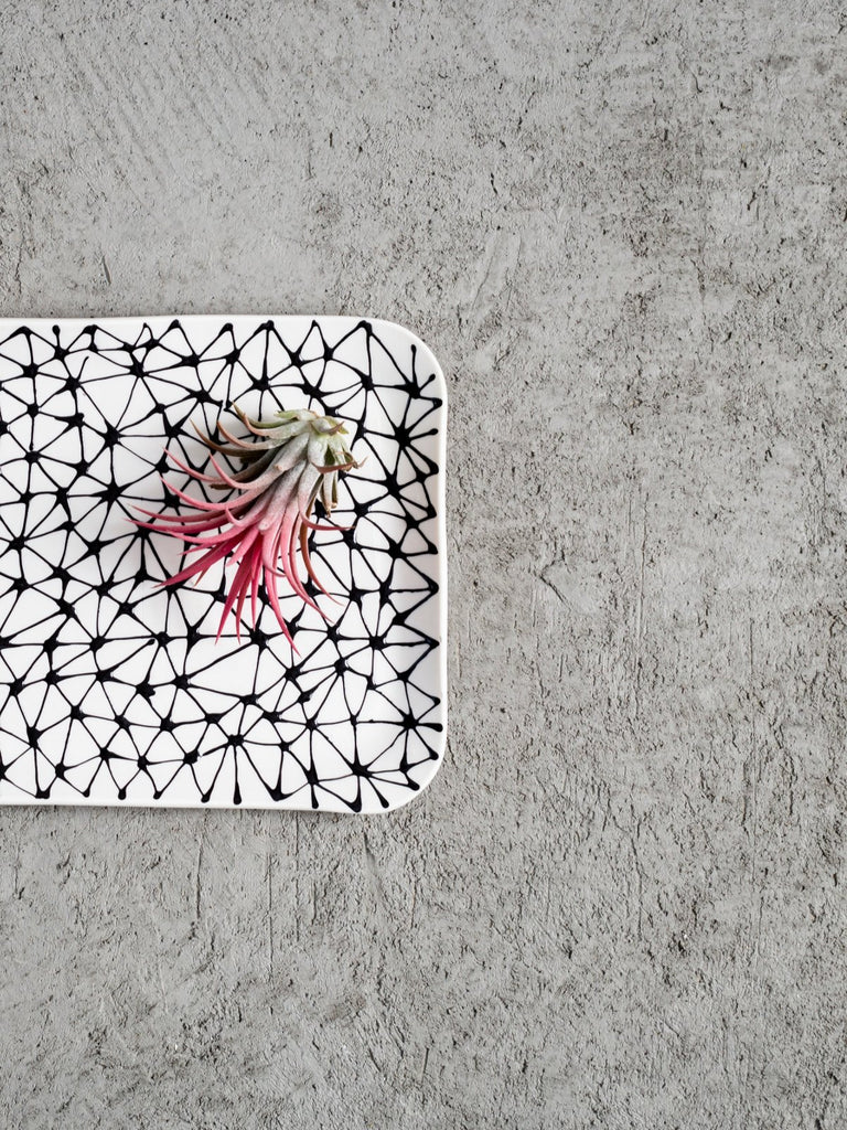 Maiyan Ben-Yona Big Rectangular Tray - White/Black Stars - Moxie Tel-Aviv
