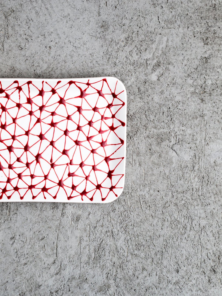 Maiyan Ben-Yona Big Rectangular Tray - White/Red Stars - Moxie Tel-Aviv