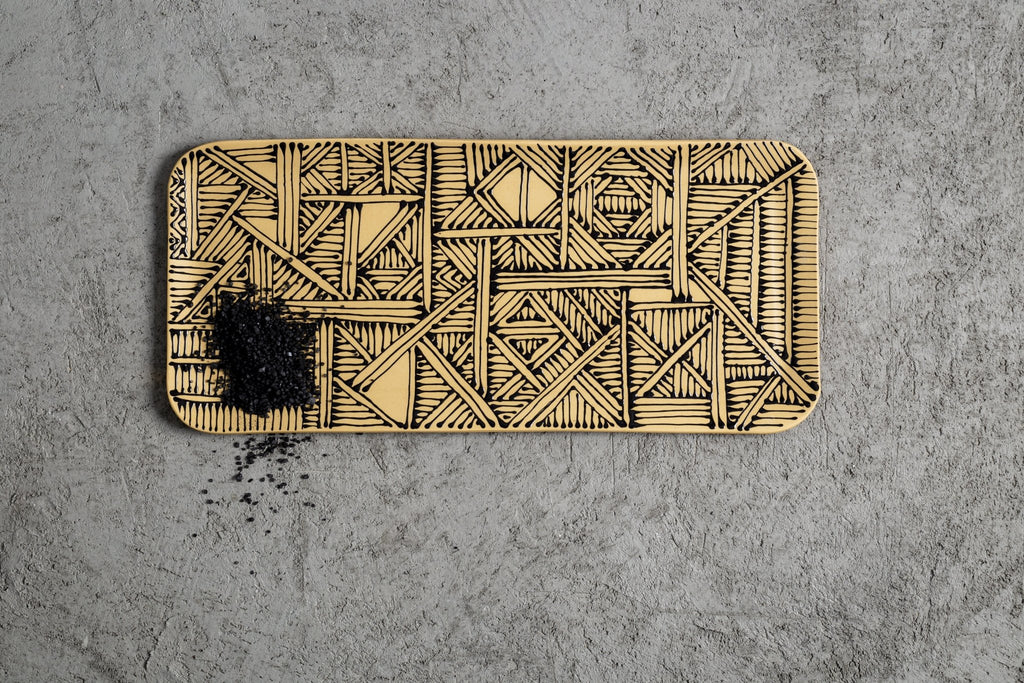 Maiyan Ben-Yona Big Rectangular Tray - Yellow/Oriental Black - Moxie Tel-Aviv