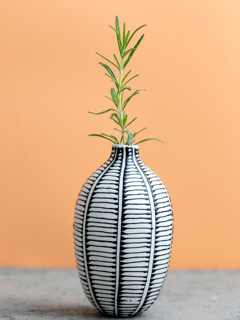 Maiyan Ben-Yona Bottle Shaped Vase - White/Black Ladder Strips - Moxie Tel-Aviv