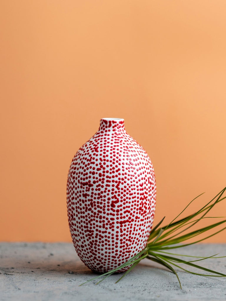 Maiyan Ben-Yona Bottle Shaped Vase - White/Red Dots - Moxie Tel-Aviv