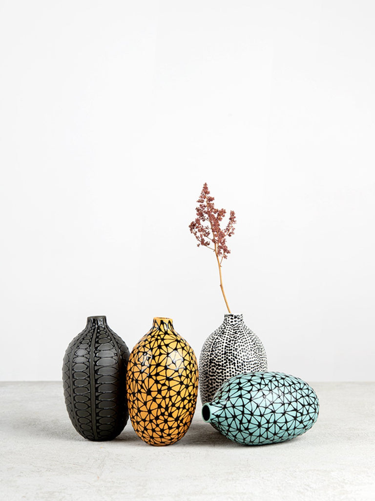 Maiyan Ben-Yona Bottle Shaped Vase - Yellow Curry/Black Stars - Moxie Tel-Aviv