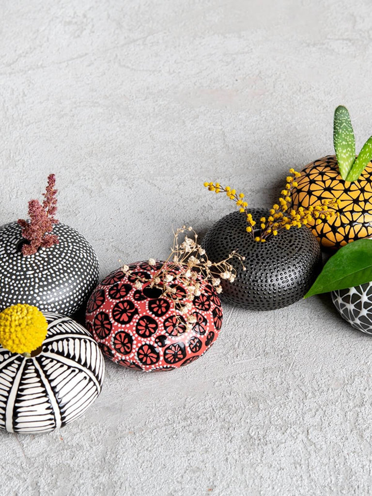 Maiyan Ben-Yona Mini Ball-Shaped Vase - Black/White Dots - Moxie Tel-Aviv