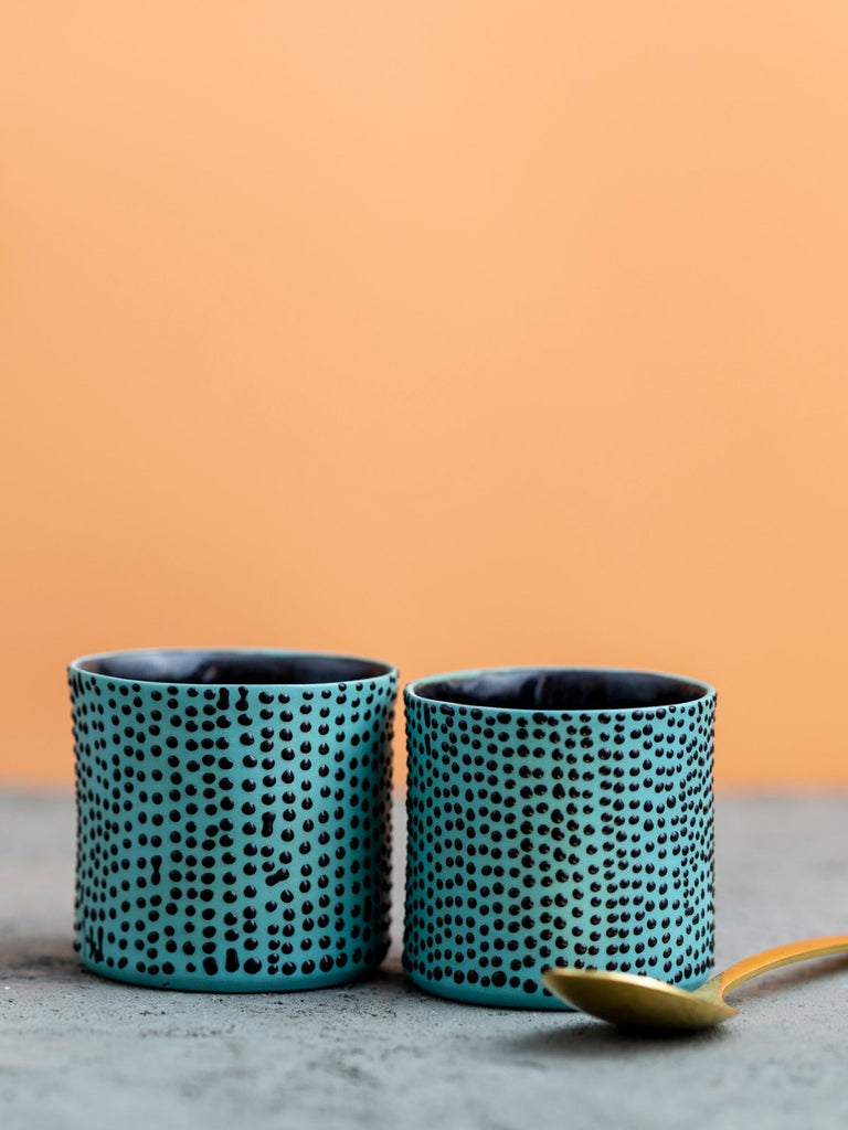 Maiyan Ben-Yona Shira Espresso Cup - Greece Blue With Black Dots - Moxie Tel-Aviv