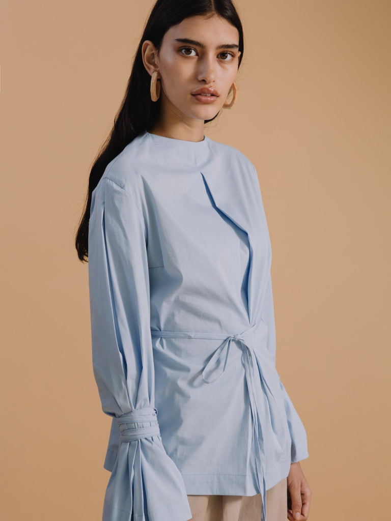 Mamo Mamo Pleats Shirt - Light Blue - Moxie Tel-Aviv