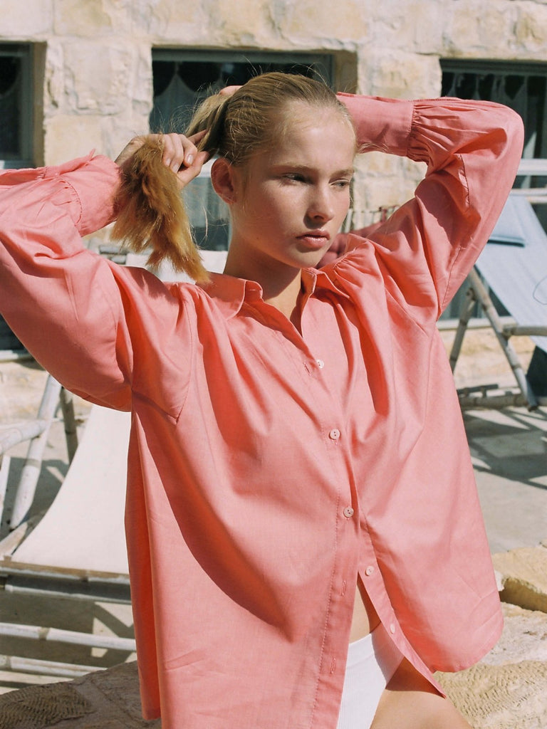 Mamo Michelle Cotton Shirt - Pink - Moxie Tel-Aviv