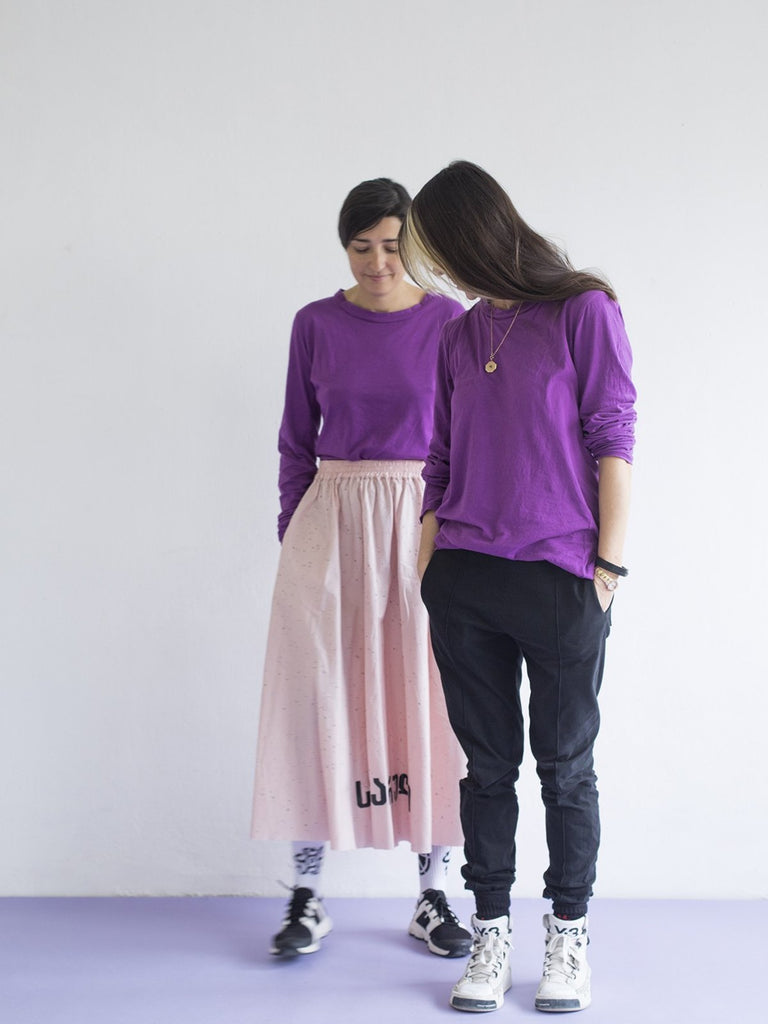 Maya Bash Basic T-Shirt Long-Sleeves - Purple - Moxie Tel-Aviv