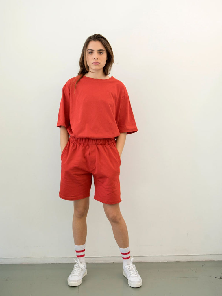 Maya Bash Red Grandpa Shorts - Moxie Tel-Aviv