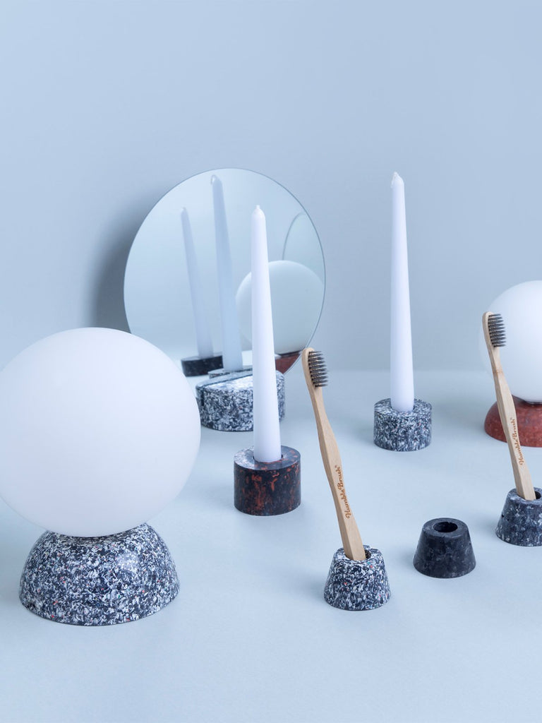 Mon Terra Toothbrush Holder - Set of 3 - Black/White Pallet Terrazzo - Moxie Tel-Aviv