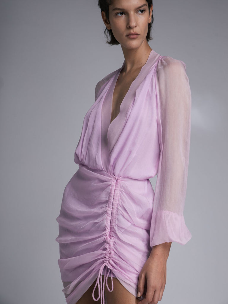 Mother Of All Vera Silk Dress - Pink - Moxie Tel-Aviv