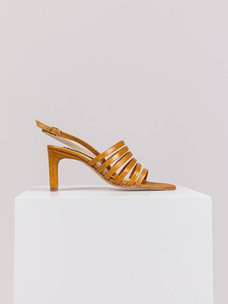 Noon Bling Heeled Sandals - Camel - Moxie Tel-Aviv