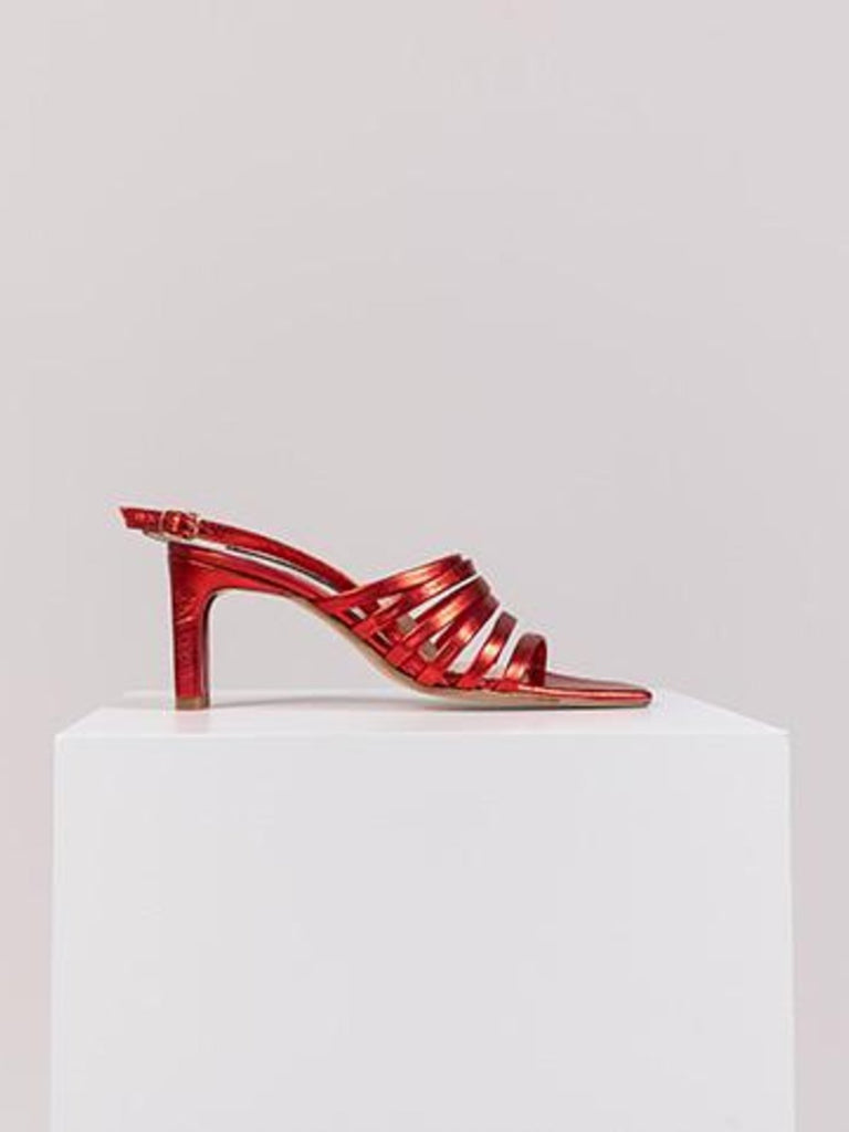Noon Bling Heeled Sandals - Red - Moxie Tel-Aviv