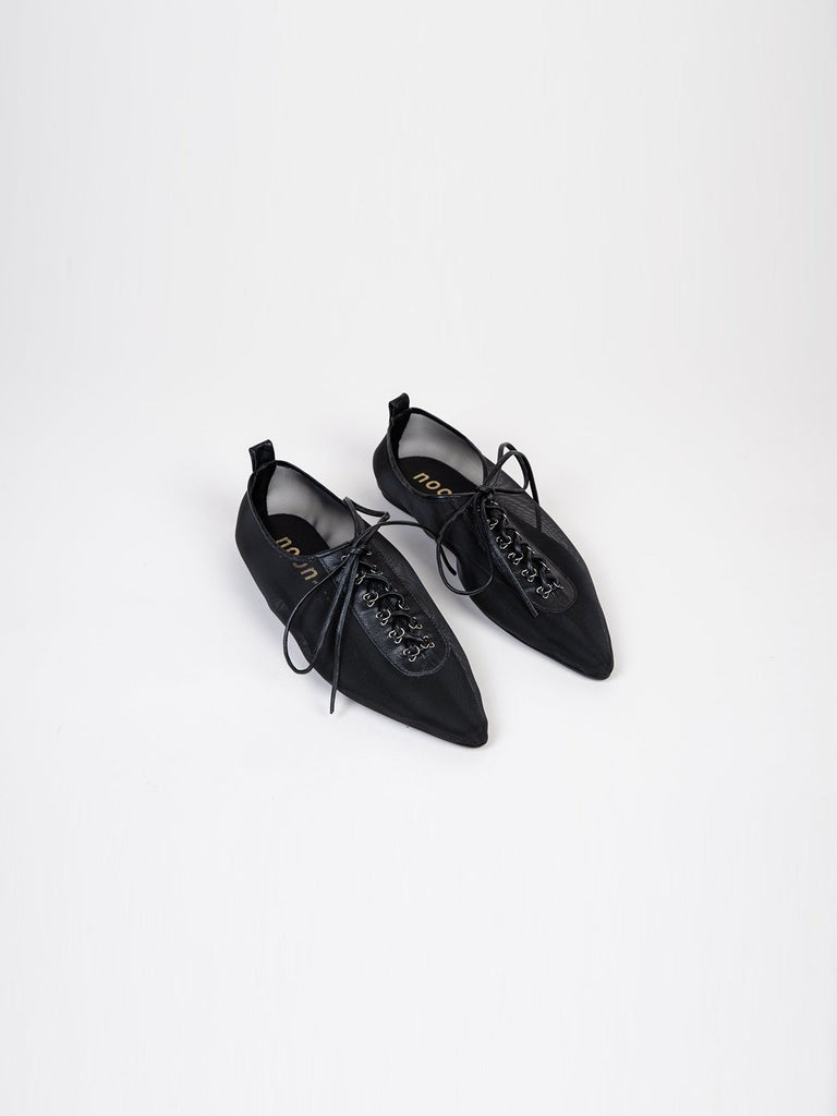 Noon Dear Jessy Lace Up Flats - Black Mesh - Moxie Tel-Aviv