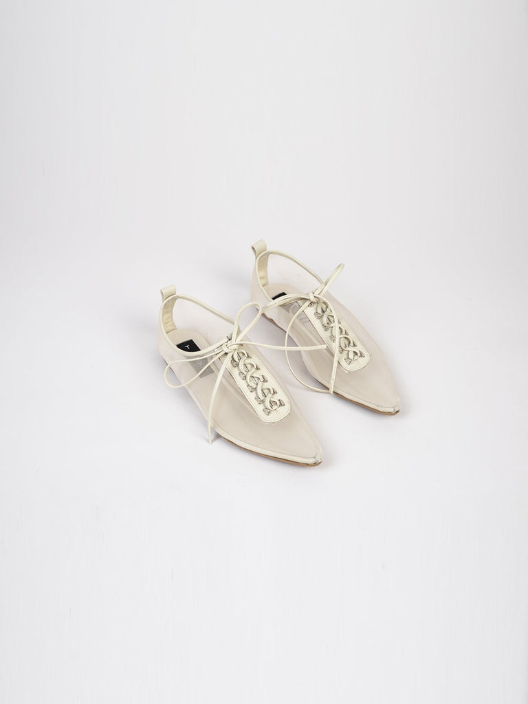 Noon Dear Jessy Lace Up Flats - Raw Mesh - Moxie Tel-Aviv