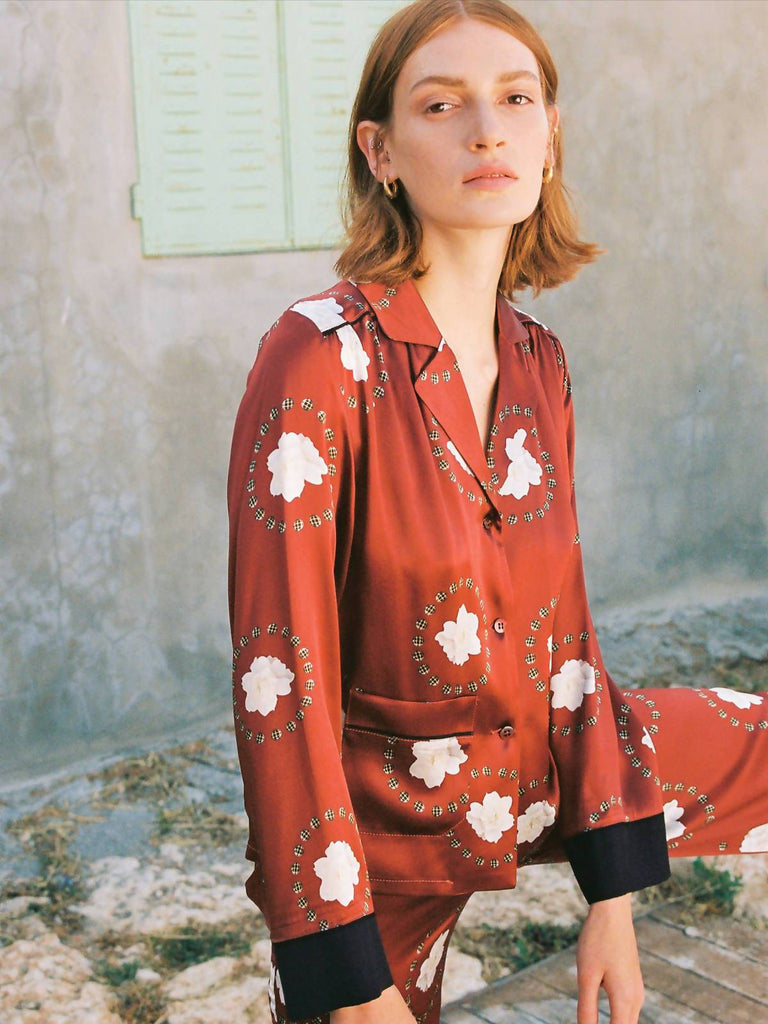 Ronna Nice Iman Silk Shirt - Red Blanch print - Moxie Tel-Aviv
