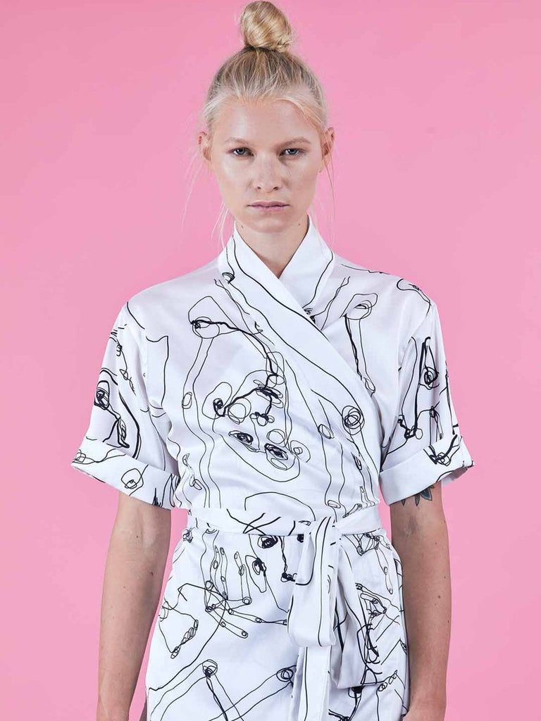 Shahar Avnet All Over Me Shirt - White/Black - Moxie Tel-Aviv