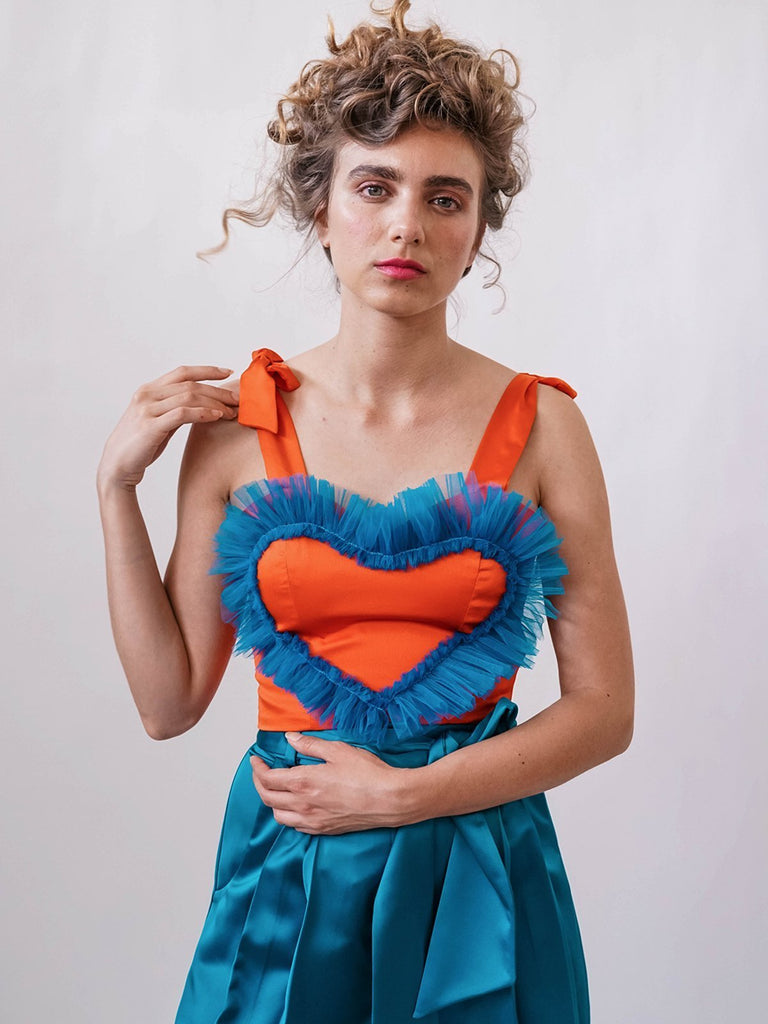 Shahar Avnet Free Love Corset -Orange/Blue - Moxie Tel-Aviv