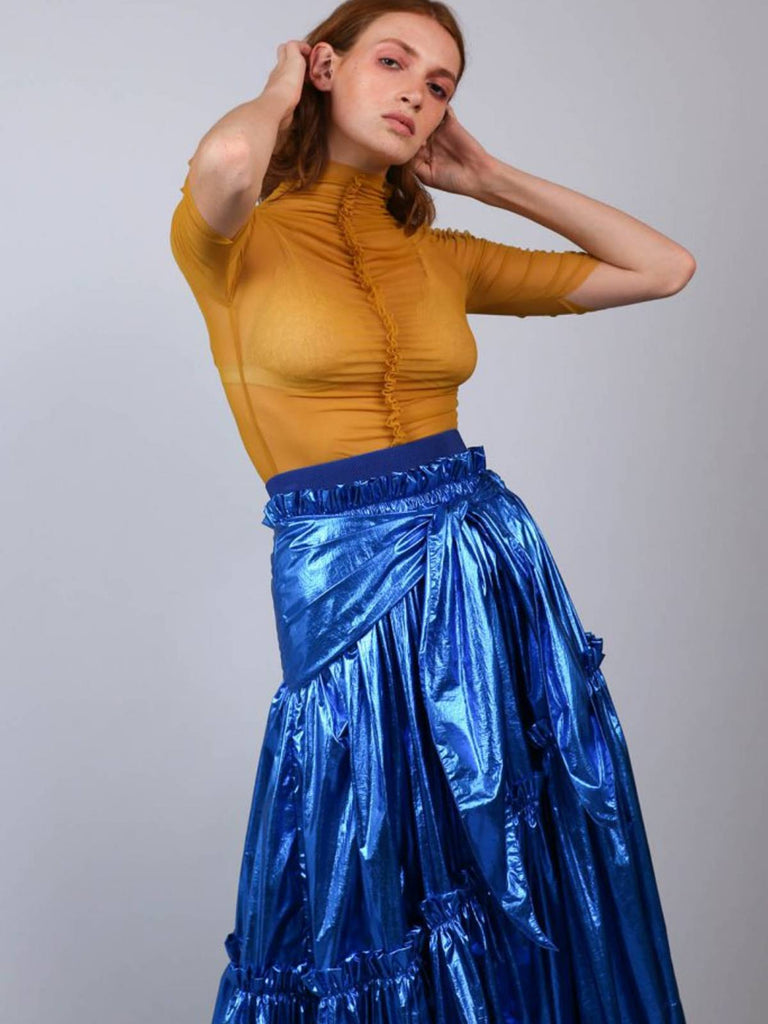 Shahar Avnet Metal Night Black Skirt - Blue - Moxie Tel-Aviv