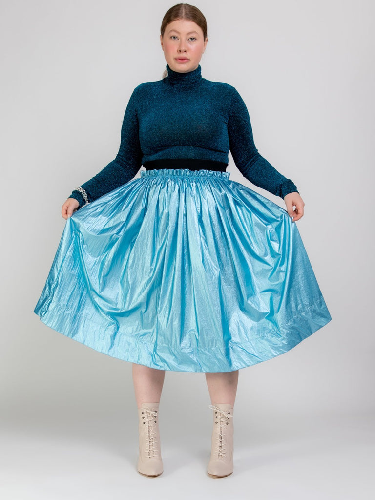 Shahar Avnet Metal Skirt - Light Blue - Moxie Tel-Aviv