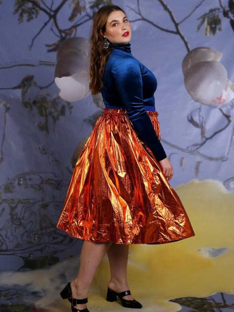 Shahar Avnet Metal Skirt - Orange - Moxie Tel-Aviv