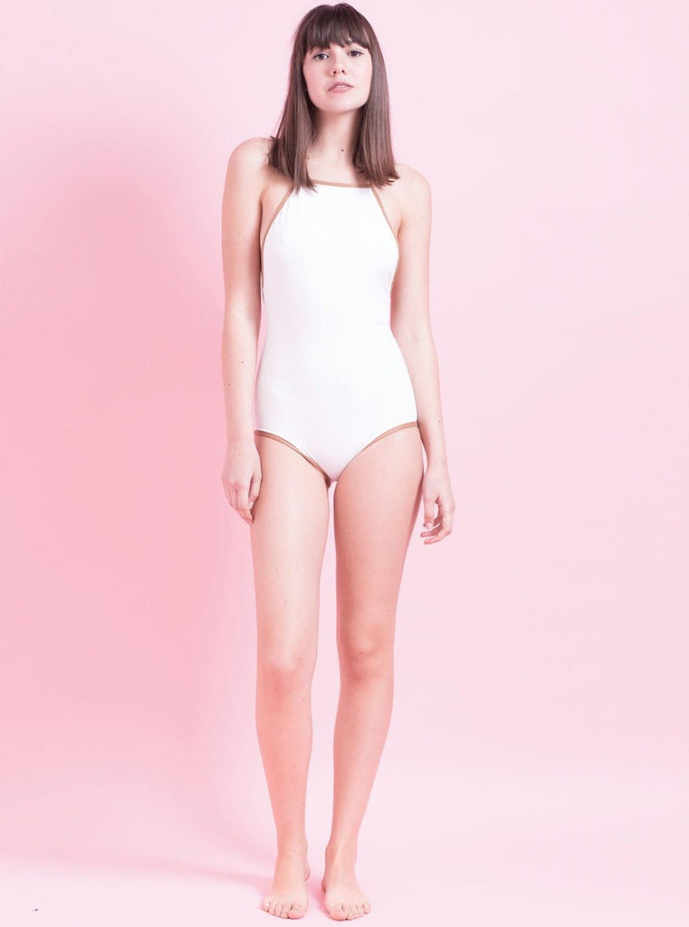 Tutu.B Liv White/Brown Frame One-Piece - Moxie Tel-Aviv