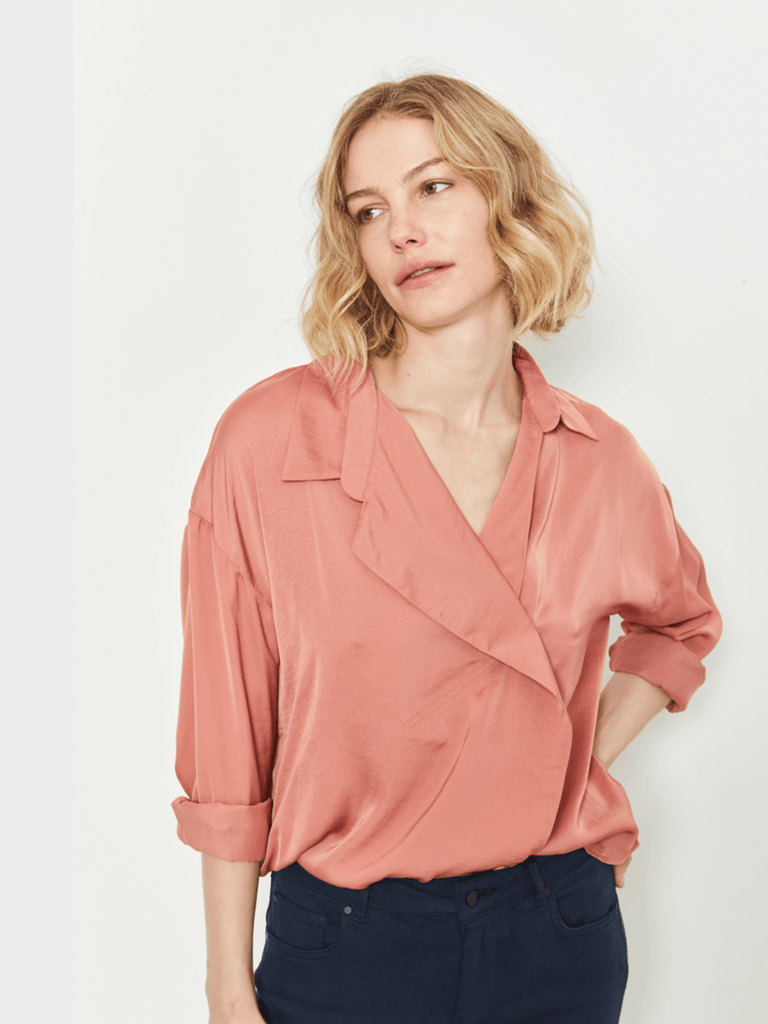 Zucker The Drape Collar Shirt - Clay - Moxie Tel-Aviv