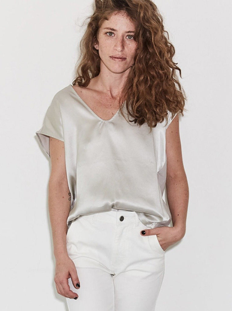 Zucker The Everyday Silk/Jeresy Top - Stone - Moxie Tel-Aviv