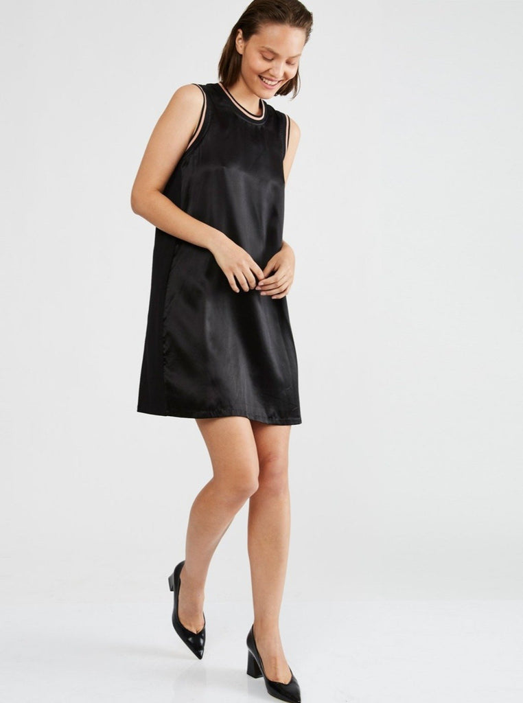 Zucker The Rib Silk/Jersey Dress - Black - Moxie Tel-Aviv