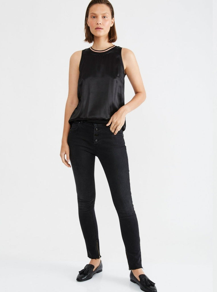 Zucker The Rib Silk/Jersey Top - Black - Moxie Tel-Aviv