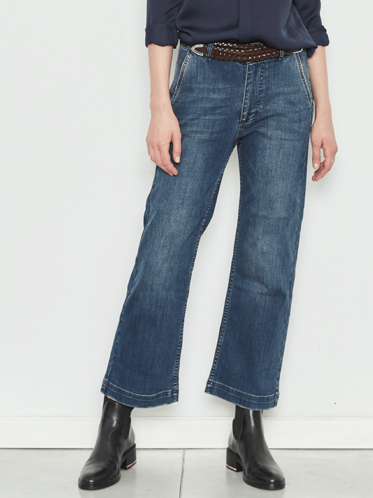 Zucker The Wide Leg Denim - Blue - Moxie Tel-Aviv