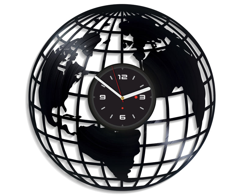 Vinil Clock earth, Wall Clock, Vinyl Art, Wall Art, Christmass Gift, Home Decor Clock, earth 2060