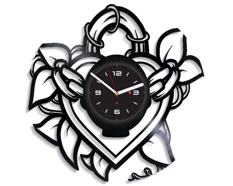 Vinil Clock heart, Wall Clock, Vinyl Art, Wall Art, Christmass Gift, Home Decor Clock, heart 4255