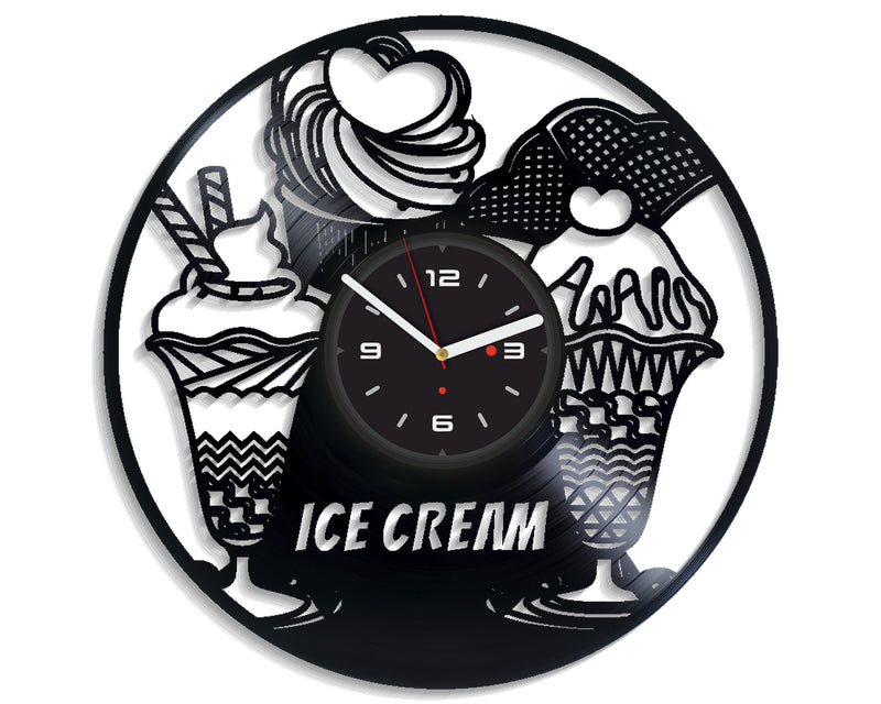 Vinil Clock ice cream, Wall Clock, Vinyl Art, Wall Art, Christmass Gift, Home Decor Clock, ice cream 4271