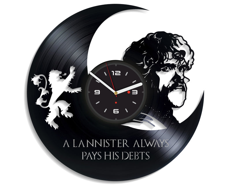Vinil Clock lannister, Wall Clock, Vinyl Art, Wall Art, Christmass Gift, Home Decor Clock, lannister 4291