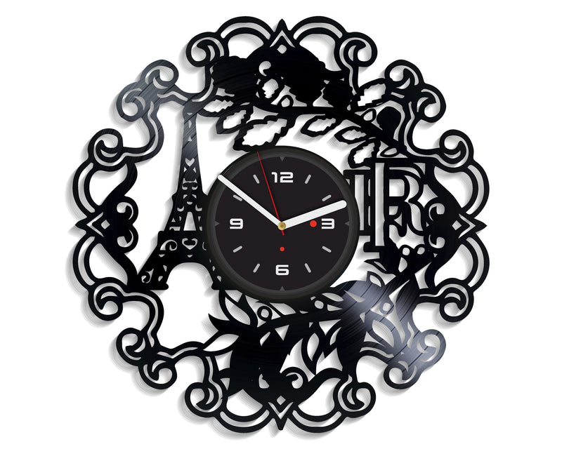 Vinil Clock paris, Wall Clock, Vinyl Art, Wall Art, Christmass Gift, Home Decor Clock, paris 1151