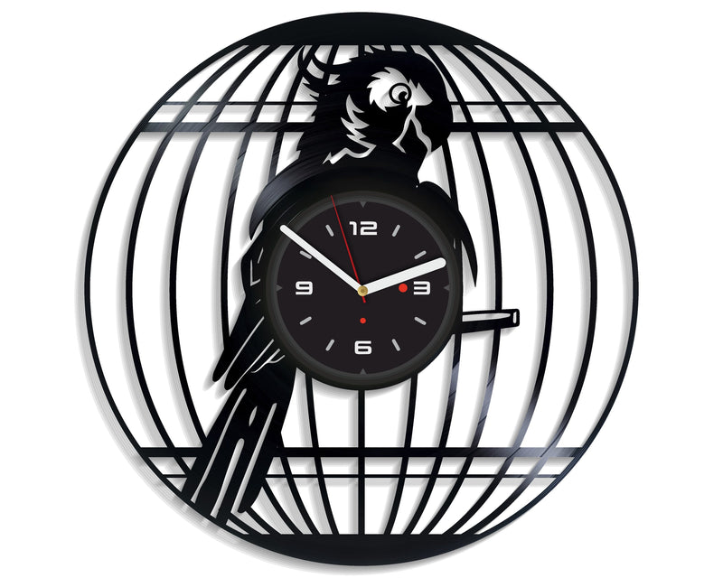 Vinil Clock parrot, Wall Clock, Vinyl Art, Wall Art, Christmass Gift, Home Decor Clock, parrot 2125