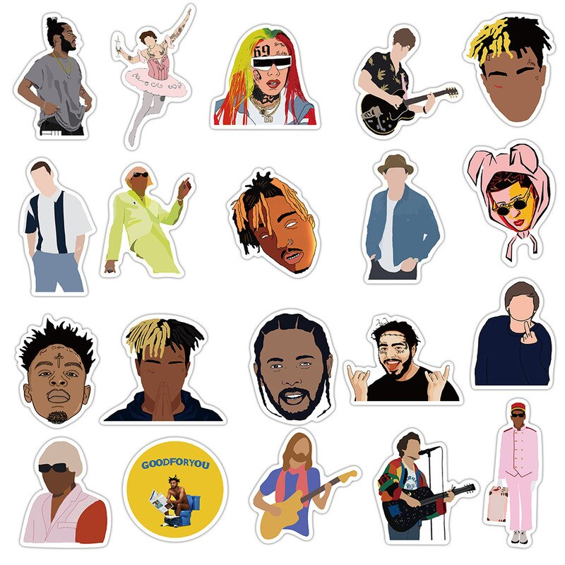 10/50PCS Singer Rapper Collection Stickers  Bad Bunny for Motorcycle