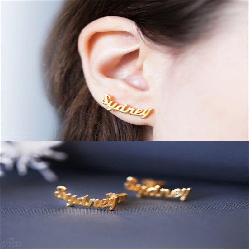 1Pairs Handmade Custom Name Plate Earrings For Women Girls Graduation School Christmas Gift Fashion Stainless Steel Jewelry - Stud Earrings