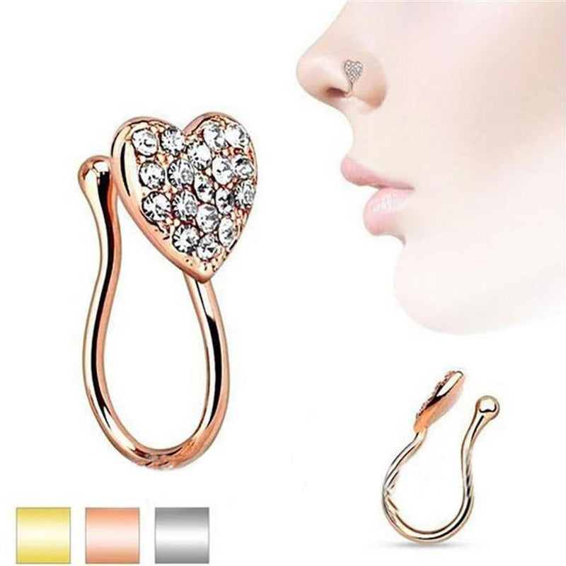 1pc Hot Sexy Clip On 10mm Thin Clip Open Nose Rings & Studs Surgical Titanium Steel C Small Hoop Fake Piercing Stud Body Jewelry - Nose Rings & Studs