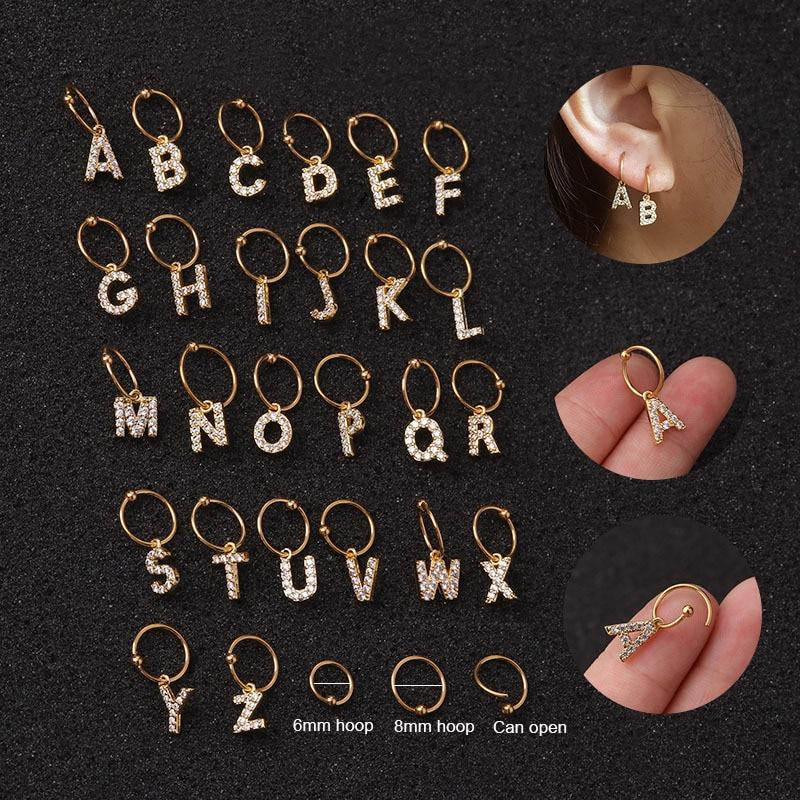 1PCs SILVER Fashion Creative A-Z 26 English Alphabet Pendant Cartilage Earrings for Women Stainless Steel Copper Zircon Jewelry Gift - Stud Earrings